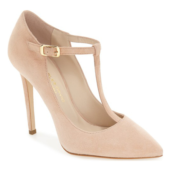 CHARLES DAVID lara t-strap pointy toe pump - This essential pump in luxe suede gives a leg-lengthening...