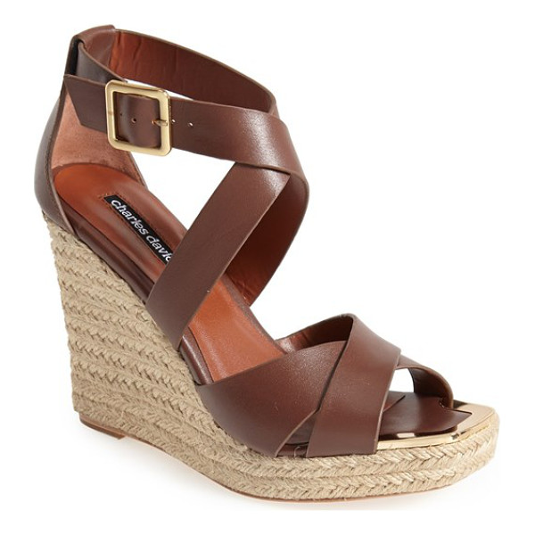 CHARLES DAVID olympia wedge sandal - An espadrille wedge adds a hint of earthy sophistication to...