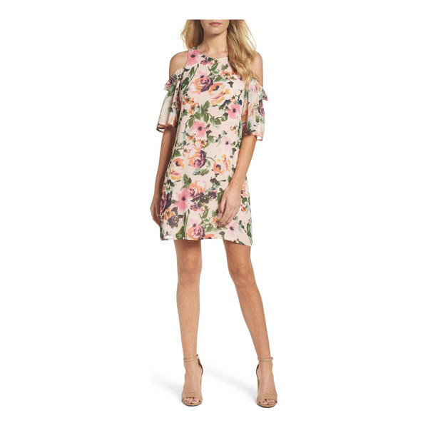 CHARLES HENRY cold shoulder shift dress - Romantic blooms soften the cold-shoulder silhouette of a...