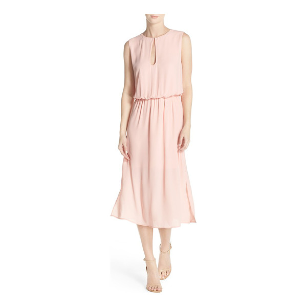 CHARLES HENRY keyhole midi dress - Pretty pleats flow from the fitted, gathered waist on an...