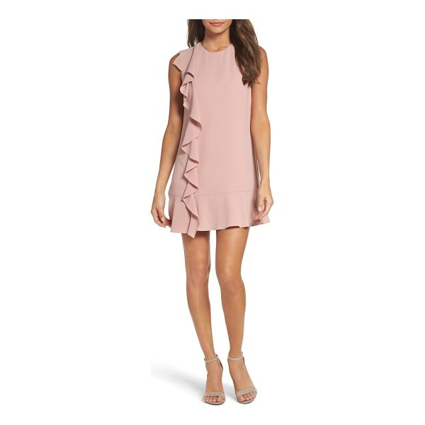 CHARLES HENRY ruffle shift dress - Fresh and chic, this crepe shift with a cascading ruffle...
