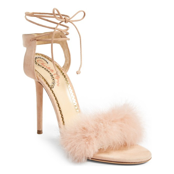 CHARLOTTE OLYMPIA salsa sandal - A flourish of ostrich feathers softens the toe strap of a...