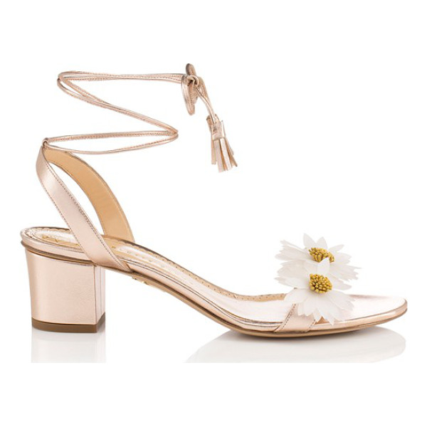 CHARLOTTE OLYMPIA tara lace-up sandal - Charming daisies bloom at the toe of a cheery sandal...
