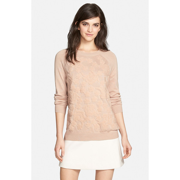 CHELSEA28 floral embroidered sweater - A plush floral design lends lavish texture to a pretty knit...
