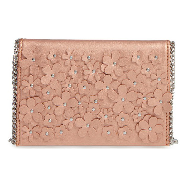 CHELSEA28 floral faux leather clutch - Studded floral embellishments add eye-catching dimension to