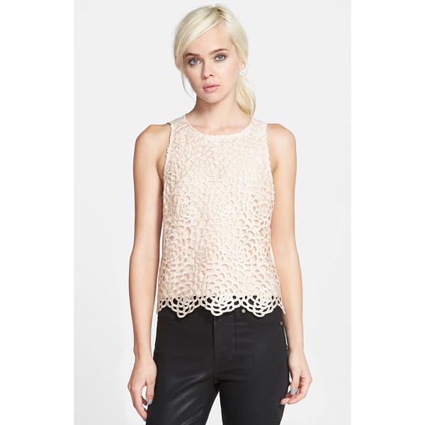 CHELSEA28 lace trapeze top - A sleeveless top fronted with a peekaboo overlay of soft...