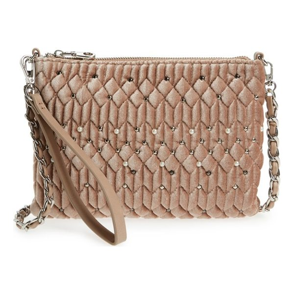 CHELSEA28 lily quilted velvet crossbody clutch - Polished metal and imitation-pearl studs punctuate the...