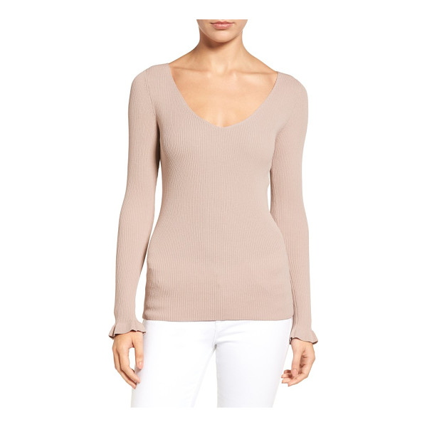 CHELSEA28 ribbed v-neck sweater - A wide V-neckline flatters and frames your face in this...