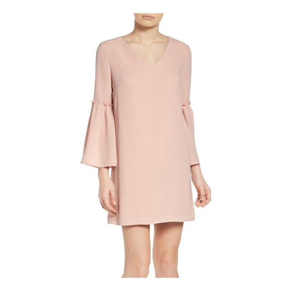 CHELSEA28 ruffle bell sleeve dress - Dusty-pink color brings an of-the-moment blush to a sweetly...