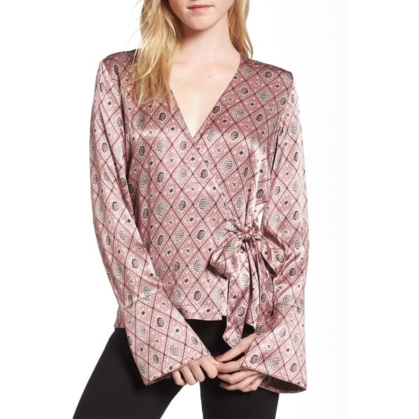 CHELSEA28 satin wrap blouse - A flouncy ruffle ties the flattering silhouette of this...