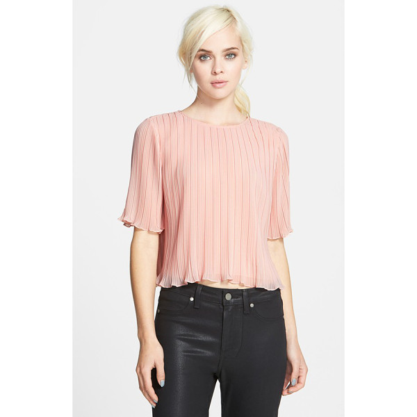 CHELSEA28 short sleeve pleated top - An ethereal elbow-sleeve top is defined by crisp allover...