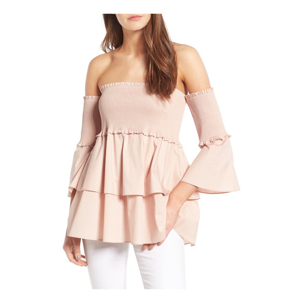 CHELSEA28 smocked off the shoulder poplin top - Smocked for a comfy, slip-free fit, this stretch-poplin top...