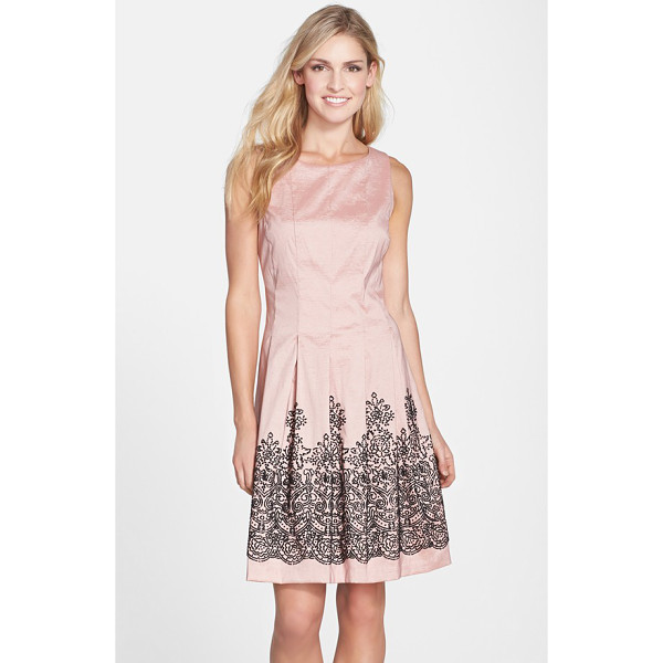 CHETTA B beaded stretch taffeta fit & flare dress - Linear seams flow right into the box-pleated skirt of this...