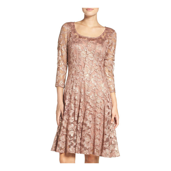 CHETTA B lace fit & flare dress - Vertical seams sculpt and flatter your waist throughout...
