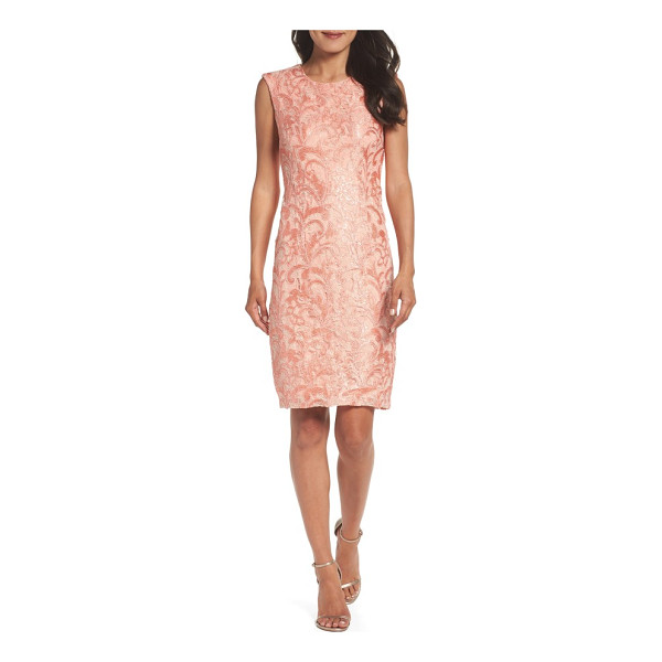 CHETTA B sequin lace sheath dress - Pretty in pink and party ready, this form-flattering sheath...