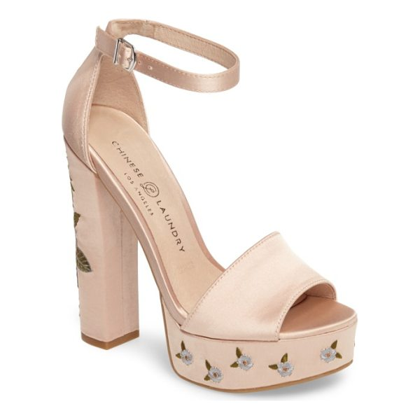 CHINESE LAUNDRY amy flower embroidered platform pump - Delicate floral embroidery pretties up the chunky platform...