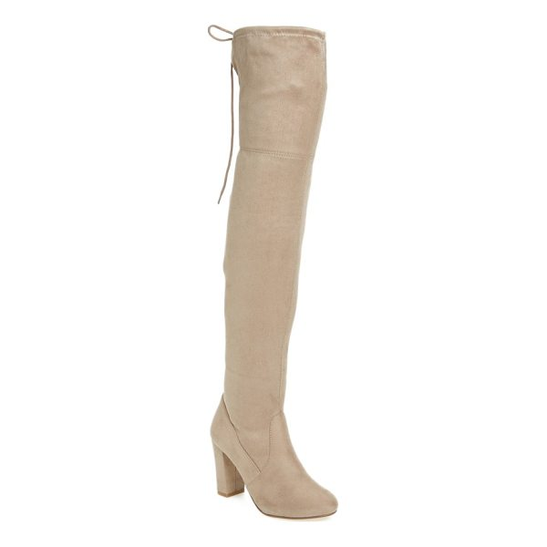 CHINESE LAUNDRY brinna over the knee boot - This sleek block-heeled boot climbs up the leg and ties at...