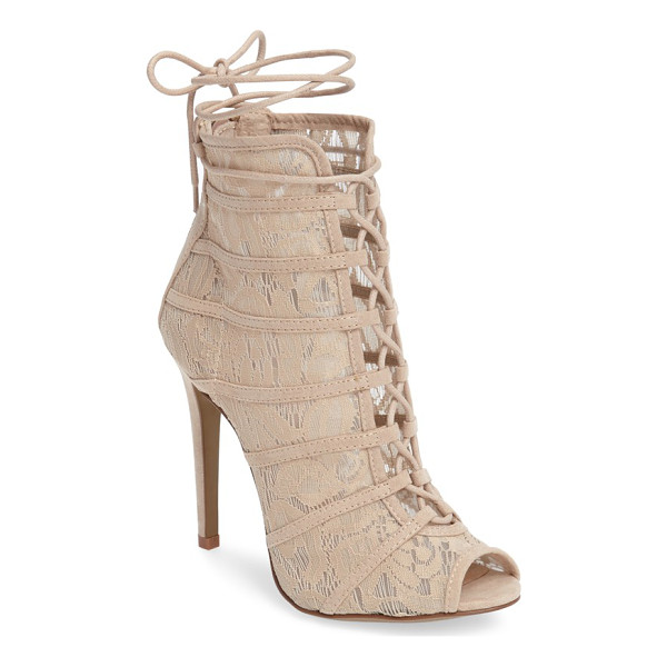 CHINESE LAUNDRY jingle wraparound peep toe bootie - Slender lacing ascends the front and ties off at the calf