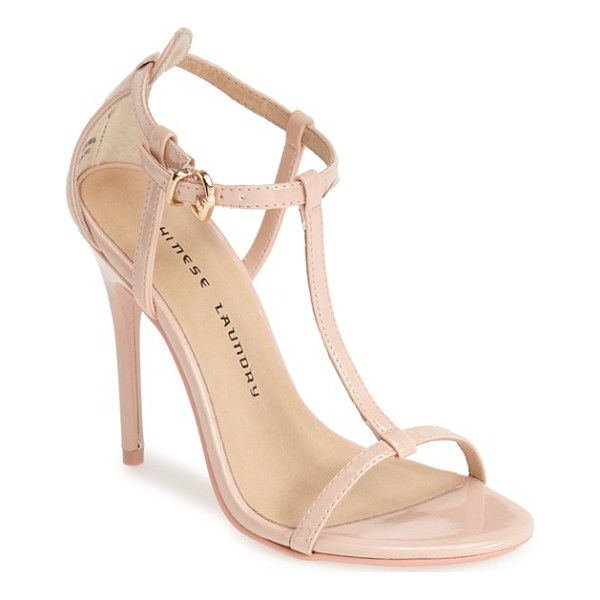 CHINESE LAUNDRY leo patent t-strap sandal - This modern sandal set on a sultry stiletto heel will...