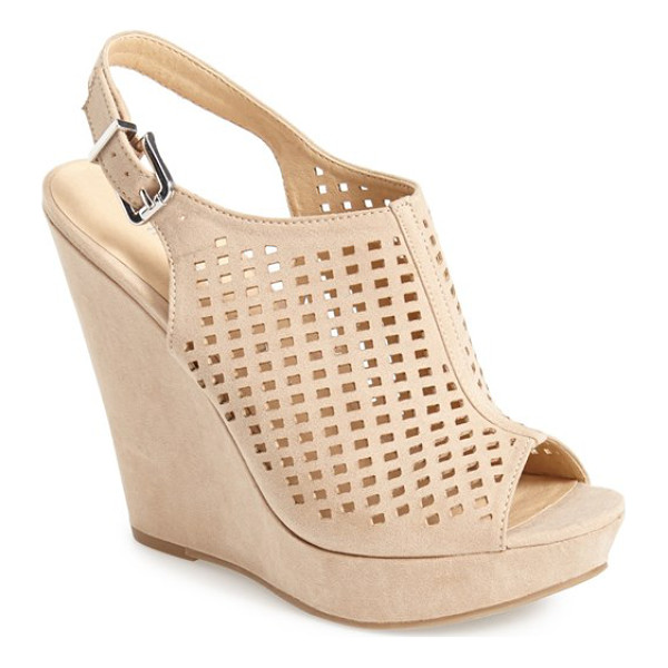 CHINESE LAUNDRY meet up slingback wedge peep toe sandal - Downtown edge meets uptown chic in this perforated peep-toe...
