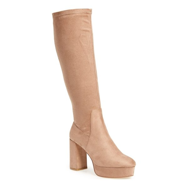 CHINESE LAUNDRY nancy knee high platform boot - A stretchy sueded shaft adds contour-hugging shape to the...