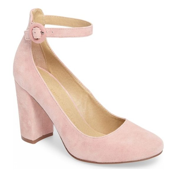 CHINESE LAUNDRY veronika pump - A covered ring buckle secures the slim ankle strap of a...