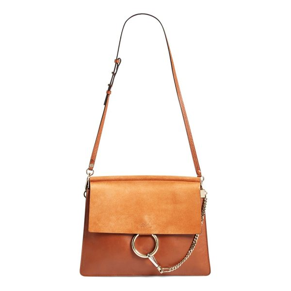 CHLOE 'faye' leather & suede shoulder bag - Refined femininity with a modern edge: A flawless leather...