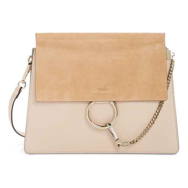 CHLOE faye suede & leather shoulder bag - Iconic equestrian-inspired hardware gleams against the chic...