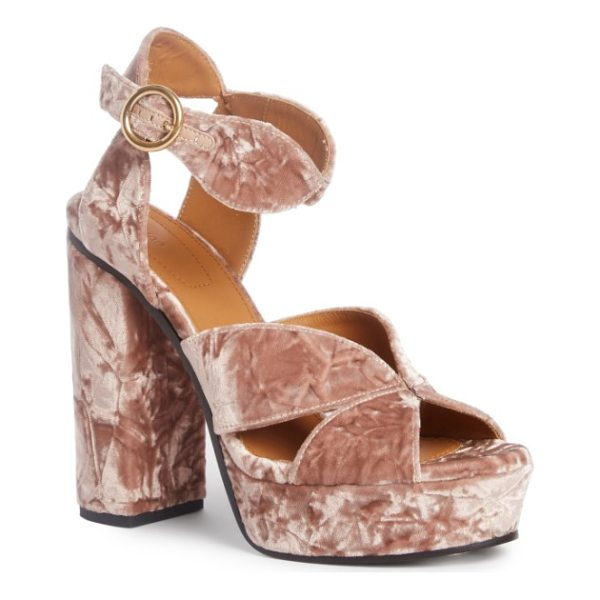 CHLOE graphic leaves platform sandal - High-pile crushed velvet brings luxe texture and marbled...