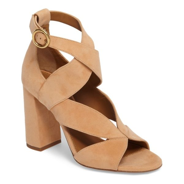 CHLOE graphic leaves sandal - Wide, sweeping suede straps crisscross a dramatic sandal...