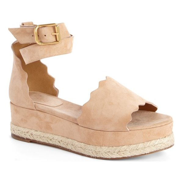 CHLOE lauren espadrille wedge sandal - An open-toe sandal cut from lush suede features a ladylike...