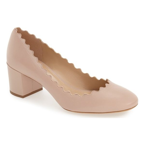 CHLOE lauren scalloped pump - A vintage-inspired block heel beautifully balances the...