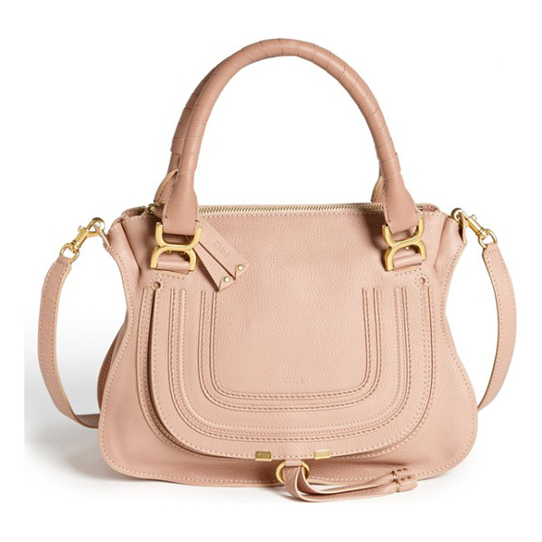 CHLOE Medium marcie leather satchel - A textured, curvy flap-branded by subtle embossing-secures...