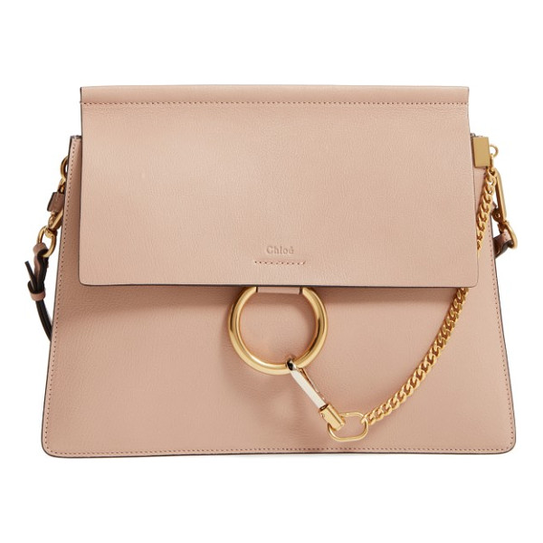 CHLOE medium faye goatskin leather shoulder bag - Iconic equestrian-inspired hardware gleams against the