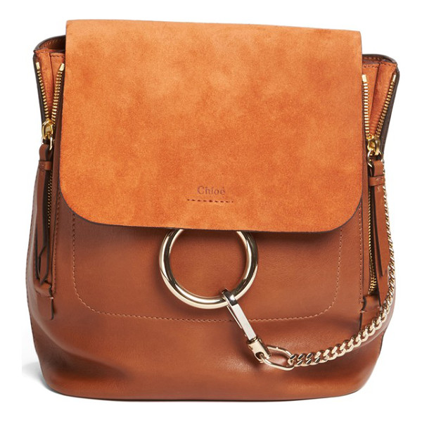 CHLOE medium faye suede & leather backpack - Iconic equestrian-inspired hardware gleams against the chic...