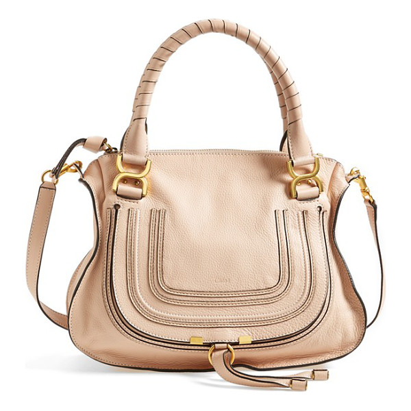 CHLOE 'medium marcie' leather satchel - A textured, curvy flap-branded by subtle embossing-secures