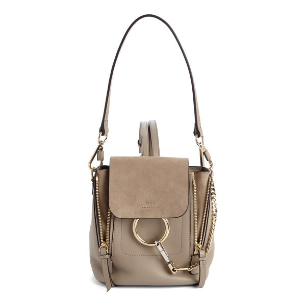 CHLOE mini faye leather & suede backpack - Iconic equestrian-inspired hardware gleams against the chic...