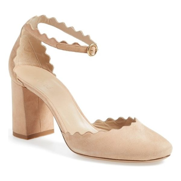 CHLOE scalloped ankle strap d'orsay pump - Supple suede kidskin and a scalloped topline provide...
