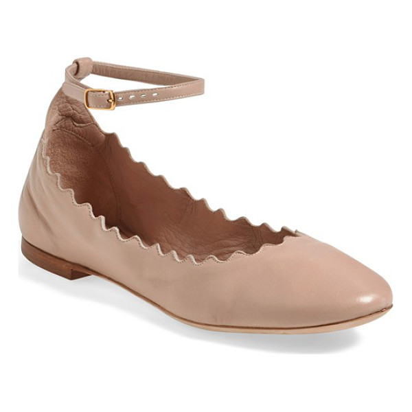 CHLOE scalloped ankle strap flat - A scalloped topline lends playful, feminine style to a cute...