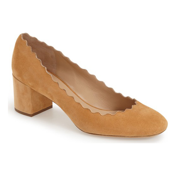 CHLOE lauren scalloped suede pump - A scalloped topline lends curvy allure to a soft suede pump...