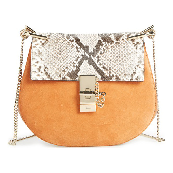 CHLOE Small drew suede & genuine python shoulder bag - Chloe's newest take on the saddle bag is the epitome of...