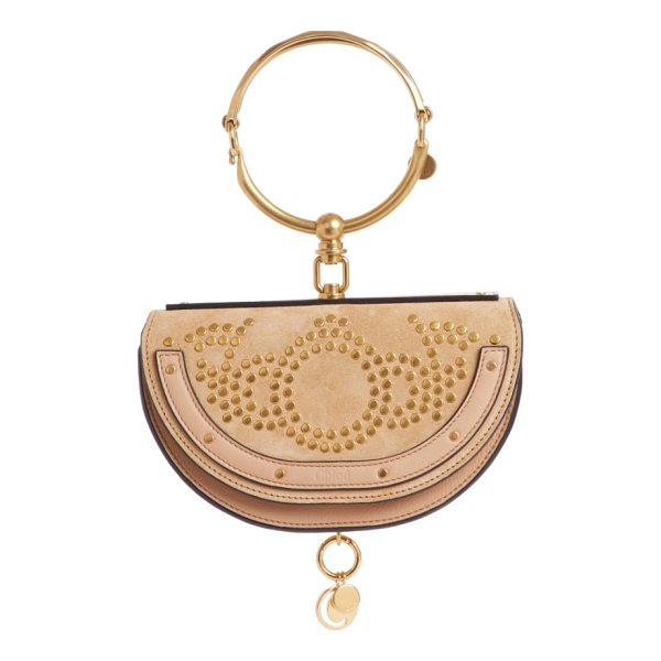 CHLOE small nile studded suede & leather convertible bag - Topped with that distinctive articulated bracelet, this...