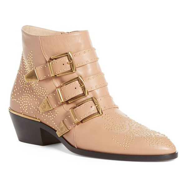 CHLOE susanna stud buckle bootie - Golden studs pepper an iconic belted bootie with