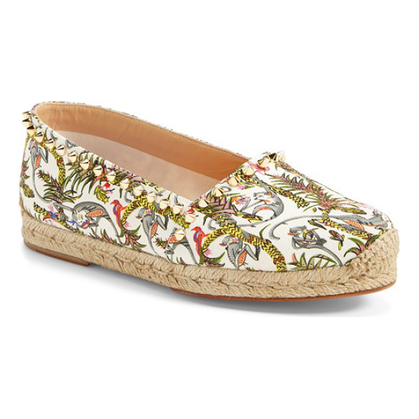 CHRISTIAN LOUBOUTIN ares espadrille flat - Spiky cone studs trace a tropical-print canvas espadrille...
