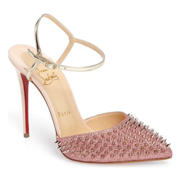 CHRISTIAN LOUBOUTIN 'baila spike' ankle strap pump - Tonal spikes take this pointy-toe pump to the next level of...