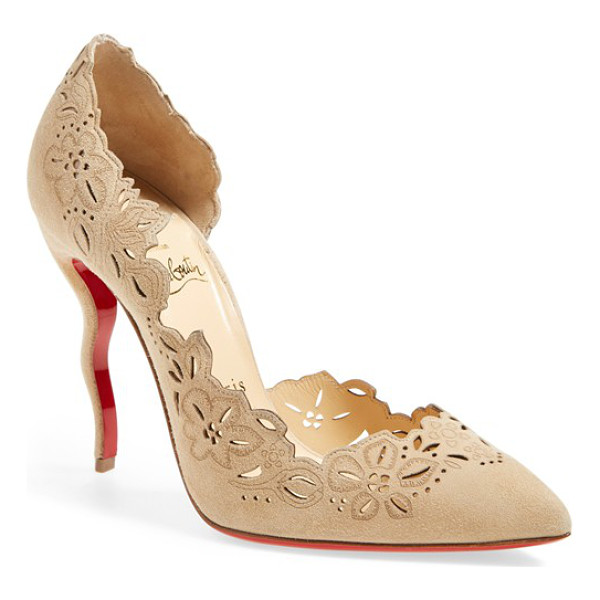 CHRISTIAN LOUBOUTIN beloved laser cut half dorsay pump - Laser-cut flowers wind around the arch-baring topline of an...