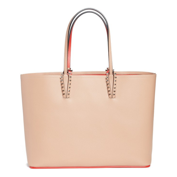 CHRISTIAN LOUBOUTIN cabata calfskin leather tote - Metal-spiked loops anchor the over-the-shoulder handles of
