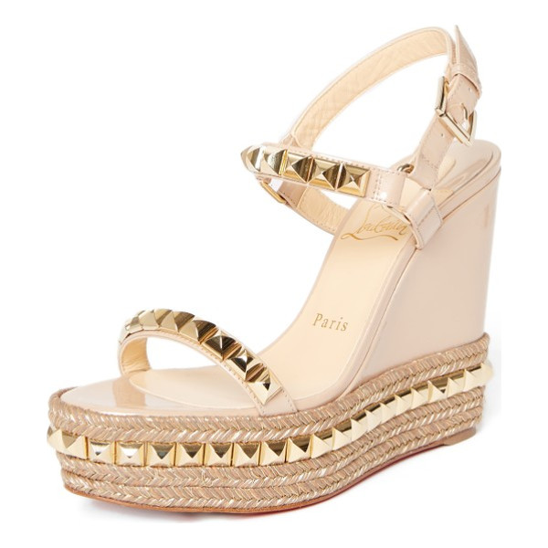 CHRISTIAN LOUBOUTIN cataclou espadrille wedge sandal - Metallic thread and gleaming pyramid studs add showstopping...