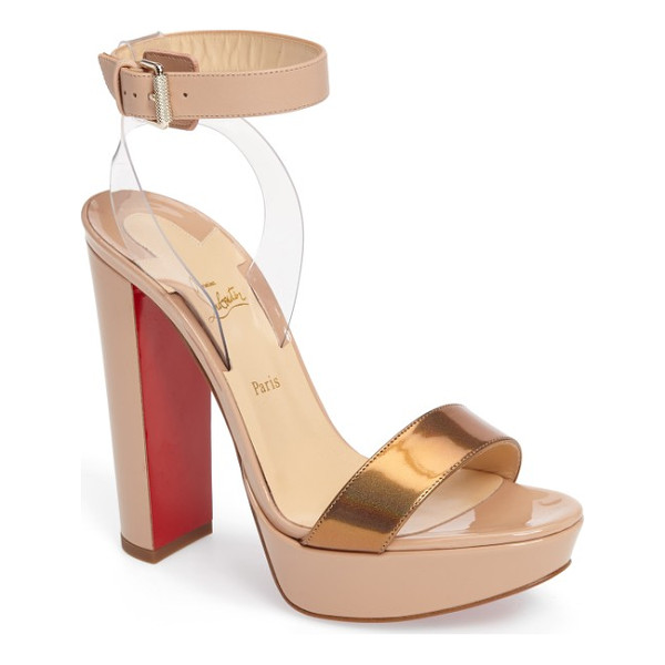 CHRISTIAN LOUBOUTIN cherry sandal - A belted ankle strap appears to float above a gorgeous...