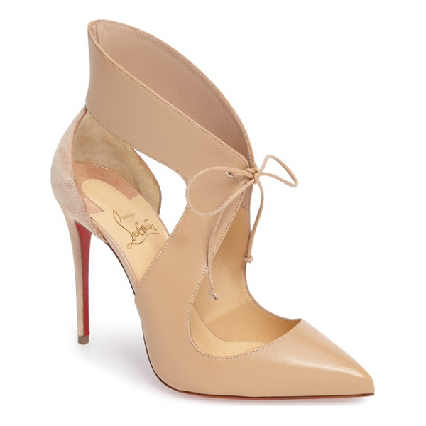 CHRISTIAN LOUBOUTIN ferme rouge pointy toe pump - Airy cutouts and a dainty tie closure add impeccable...